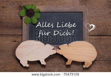 Greeting Card With Clover And Two Wooden Pigs - Like A Couple - Luck For A Happy New Year, Valentine