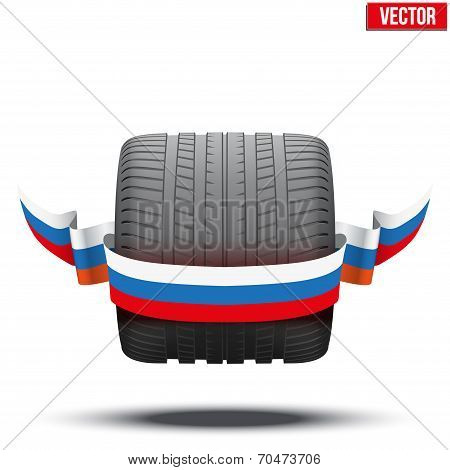 sports car race wide wheel with winner ribbon