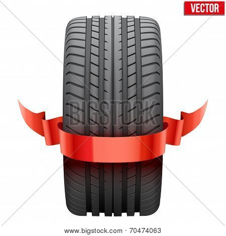Realistic rubber tire symbol with red ribbon. Vector Illustration