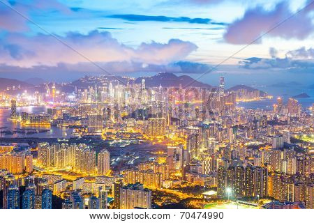 Hong Kong Skyline Kowloon from Fei Ngo Shan hill at dusk
