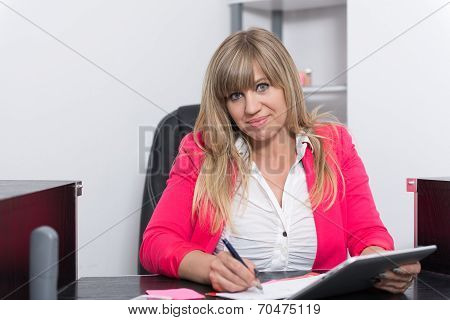 Woman Is Using A Tablet