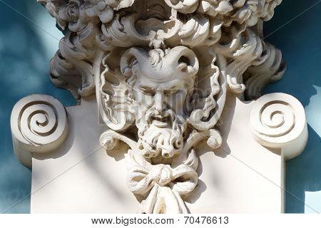 Horned Head Of Satyr,old House Decoration, Greek Mythological creature