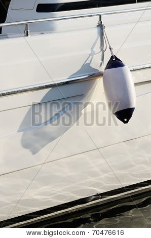 White Moto Boat Fender,device For Protecting The Side Of A Sailing Vessel As It Heads Into Port