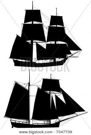 tall ships of XVIII  century outlines