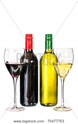 Glass Of Red And White Wine With Bottle