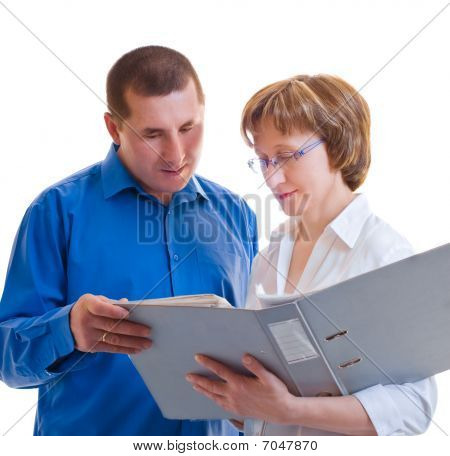 Two Businesspeople With Thick Folder Of Documents