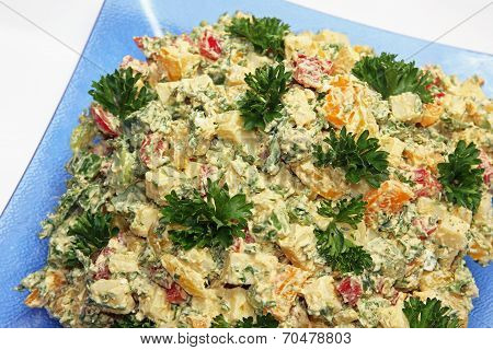 Cheese Salad Of Cubed Emmenthal Cheese With Parsley And Dressing
