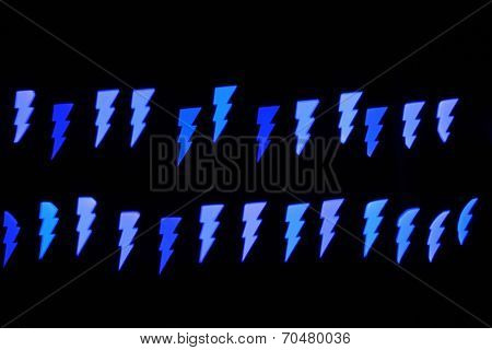 Thunderbolt Bokeh Lights On Black Background For Pattern