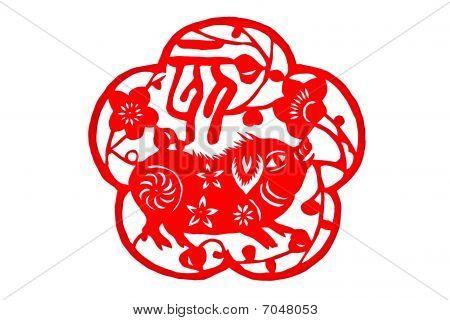 Chinese folk paper-cut - Zodiac pig