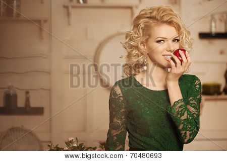 Young beautiful woman in a cafe. Modern trendy blondy girl in restaurant.
