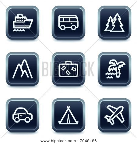 Travel web icons set 1, mineral square buttons series