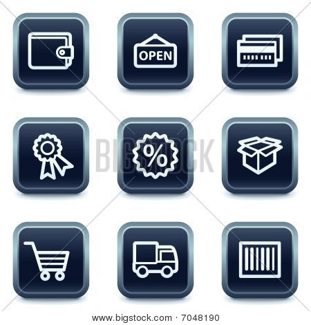 Shopping web icons set 2, mineral square buttons series