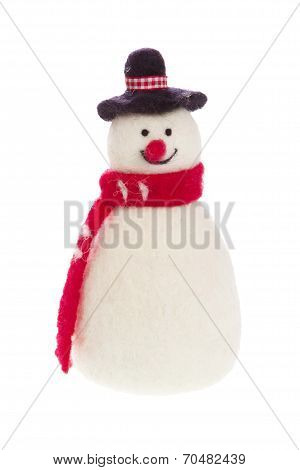 Isolated Handmade Snowman With Felt With A Red Scarf