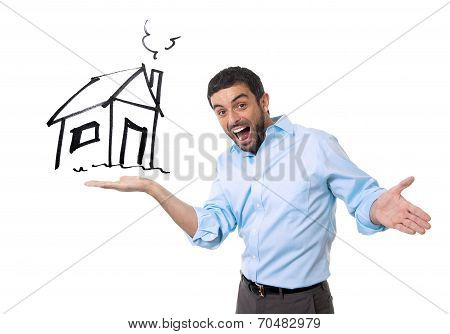 Happy Attractive Man Presenting House Sketch In New Property Buying Concept