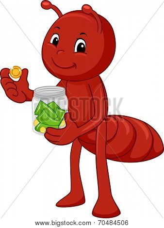 Illustration Featuring an Ant Storing Money in a Glass Jar