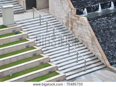 Stone stairs in modern building