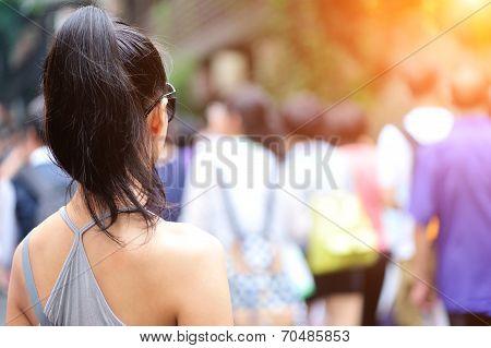 young beautiful asian woman on the jinli ancient walking street?chengdu,China