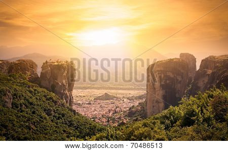 Panoramic view of monastery at Meteora in sunrise, Trikala region, Greece.