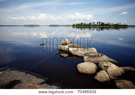 Water Landscape With Stones.