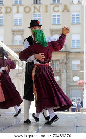 ZAGREB, CROATIA - JULY 18: Members of folk group Casamazzagno, Gruppo folklore and Legare from Italy during the 48th International Folklore Festival in center of Zagreb,Croatia on July 18, 2014