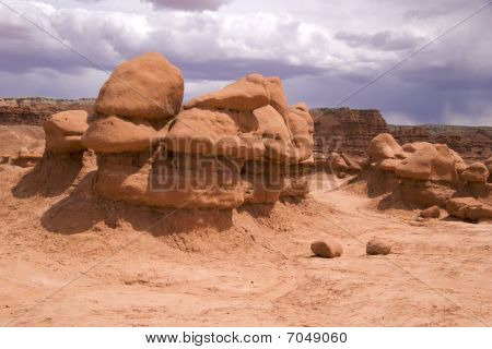 Strange sandstone formations Goblin Valley