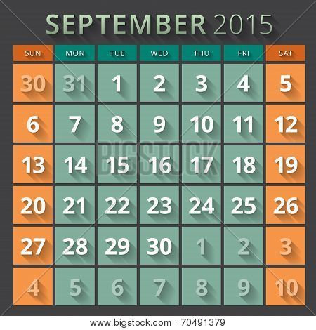Calendar Planner 2015 Template Week Starts Sunday