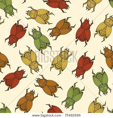 Vector Seamless Pattern With  Scarab Beetles