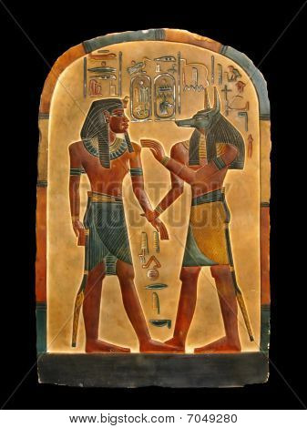 Pharaoh And Anubis In Netherworld