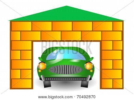 Green Car In Garage