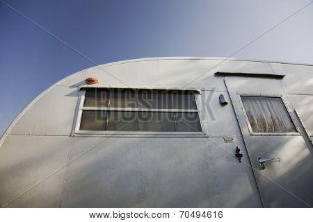 Caravan exterior, low angle view