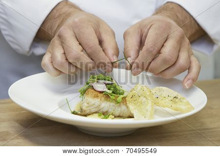 Closeup midsection of a chef garnishing food