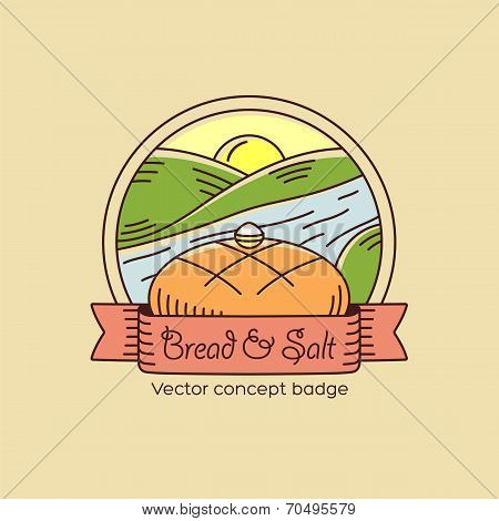 Bread and Salt Line Style Vector Badge or Logo Template