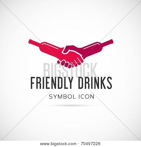 Friendly Drinks Bar Vector Concept Symbol Icon or Logo Template