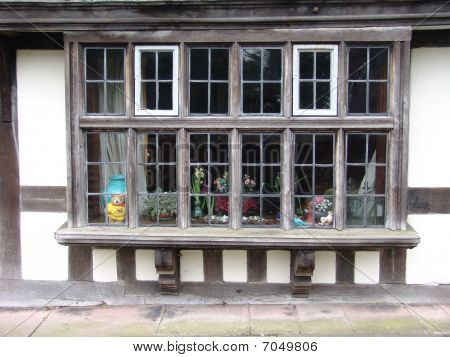 Old wooden shopfront windows