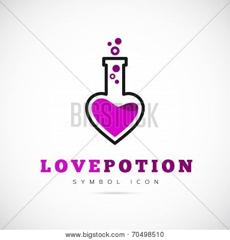 Love Potion Vector Concept Symbol Icon or Logo Template