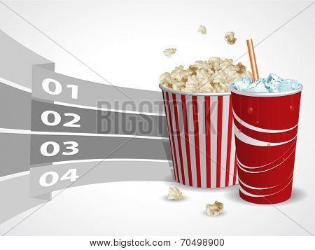 Popcorn and soda with graphic informations - Vector illustration