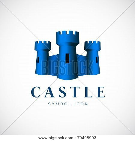 Castle Towers Vector Concept Symbol Icon or Logo Template
