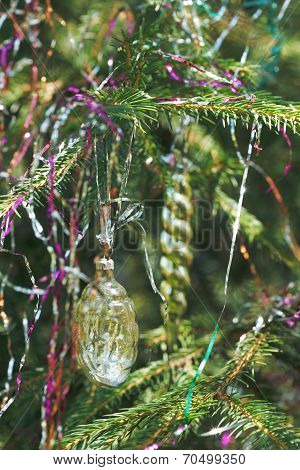 Toy Glass Cone And Icicle Christmas Decoration