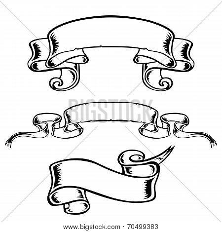 banner vector black-and-white ribbon decor decoration