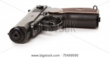 Black Gun Isolated On The White Background