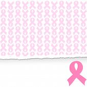 image of  breasts  - vector illustration of a pink ribbon breast cancer support background - JPG