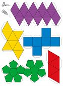 picture of tetrahedron  - Paper model template of the five platonic solids - JPG