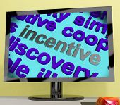 foto of enticing  - Incentive Word Screen Showing Motivation Enticement Or Reward - JPG