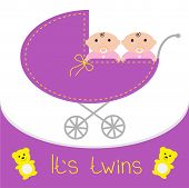 picture of twin baby girls  - Baby carriage - JPG