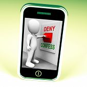 stock photo of denied  - Confess Deny Switch Showing Confessing Or Denying Guilt Innocence - JPG