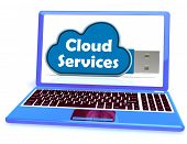 pic of memory stick  - Cloud Services Memory Stick Laptop Showing Internet File Backup And Sharing - JPG