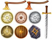 stock photo of shield  - Illustration of shields and weapons - JPG