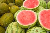 pic of stall  - Assorted fresh melons on a street market stall - JPG