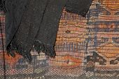 stock photo of nomads  - Iranian nomads tent texture woven with cotton yarn and mat - JPG