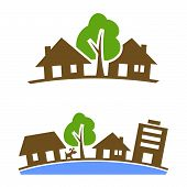 image of suburban city  - Vector icon of suburban silhouette for design element - JPG